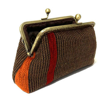 Clutch Purse - Case with 2 pockets inside - Kiss lock purse - Upholstery fabric - Antique Bronze Frame