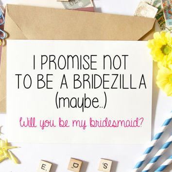 Bridesmaid Proposal Card, Funny Maid Of Honor Card, MOH, Asking