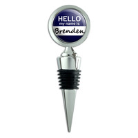 Brenden Hello My Name Is Wine Bottle Stopper