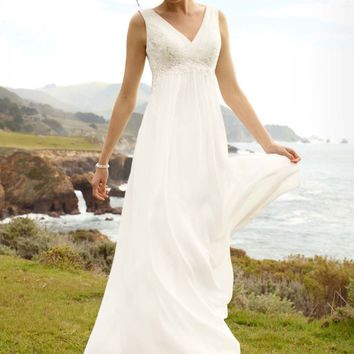 Soft Chiffon Sheath Tank with Illusion Lace Back - David's Bridal