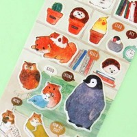 Kawaii Animals Masking Seal Stickers - Library