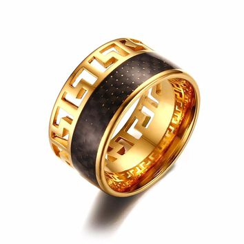 Unique Mens Two Tone Rings Stainless Steel Hollow Greek Keys with Black Carbon Fiber Wide Ring Men Jewelry Anel Aneis Masculinos