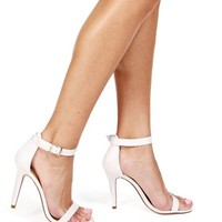 White Basic Ankle Strap Heels