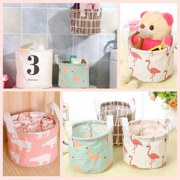 New Hot Sale Cosmetic Container Cute Linen Cotton Stationery Toy Box Fabric Basket Desktop Storage Bin Sundries Organizer