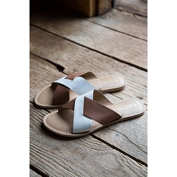 Wilma Slide on Sandal, Tan White | Coconuts By Matisse