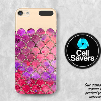 Mermaid Scales Clear iPod 5 Case iPod 6 Case iPod 5th Generation iPod 6th Generation Rubber Case Gen Clear Case Red Pink Watercolor Mermaid