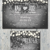 Set of 100 - Romantic Garden and Night Light Wedding Invitation and Reply Card Set - Wedding Stationery - ID210