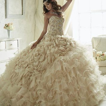 Quinceanera Collection - 26816 Beaded Strapless Tulle Ballgown
