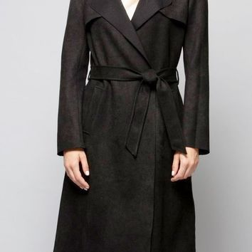 Faux Suede Trench in Black