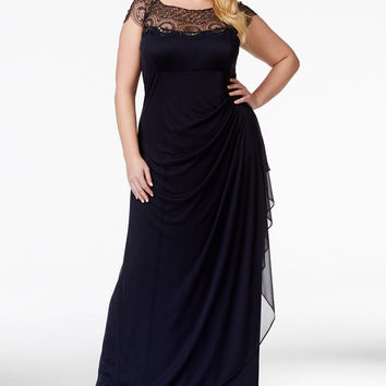 Xscape Plus Size Cap-Sleeve Illusion Beaded Gown
