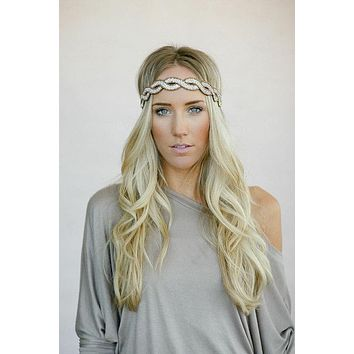 Boho Beaded Crystals Headband Braided Bronze Seed Beads & Clear Rhinestones Sold Out Everywhere!