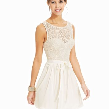 Speechless Juniors Dress, Sleeveless Lace Illusion - Juniors Dresses - Macy's
