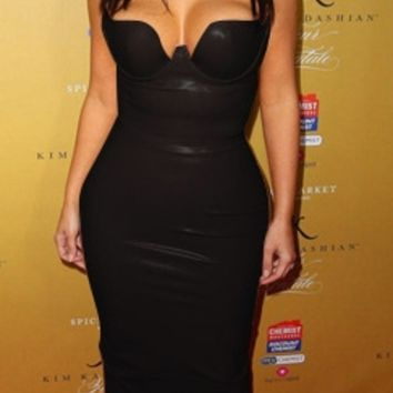 Black Spaghetti Strap V Neck Faux Leather Bodycon Midi Dress - Inspired by Kim Kardashian