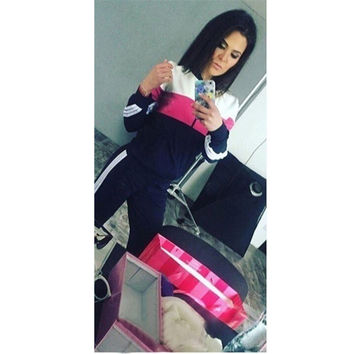 Women Tracksuit Long Sleeve Hoodies +Long Pants Casual Women 2 Pieces Set Baseball Jacket Patchwork