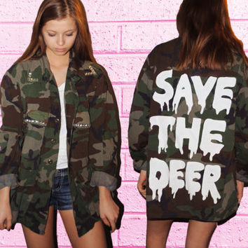 Blinged military jacket - Save the deer