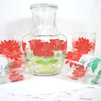 Vintage Carafe and Tumblers Red and Green Flowers by Libbey , Summer Patio Set of Glasses and Pitcher