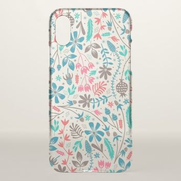 Retro Floral Pattern iPhone X Case