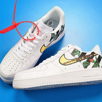 2018 Off-white X Nike Air Force 1 Low Floral Custom White - Beauty Ticks
