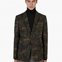 Valentino Men's Camouflage Herringbone Wool Jacket