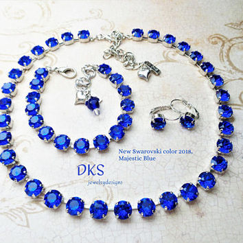 New Swarovski Majestic Blue Crystal 8mm Necklace, Best Seller, Bridal, Adjustable, DKSJewelrydesigns, FREE SHIPPING