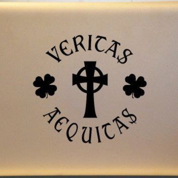 Boondock Saints Laptop Vinyl Decal Veritas Aequitas Truth and Justice | MakeItMineDesigns - Techcraft on ArtFire