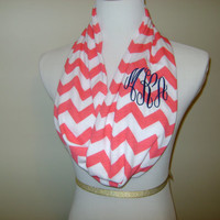 Monogrammed Infinity scarf  pink and white by Elizabethsplace