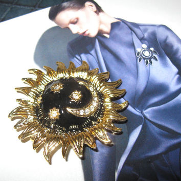 Sunflower Celestial Enamel Pin, Rhinestone Sun, Moon and Stars Brooch, Vintage Goldtone pin, Jewelry, Women's accessory