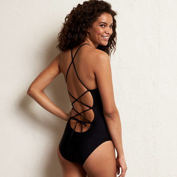 Aerie Cross-Back One-Piece Swimsuit, True Black | Aerie for American Eagle