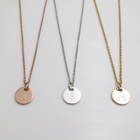 Personalized gifts disc initial necklace bridesmaid gifts christmas gifts hand stamped Letter Necklace anniversary gifts