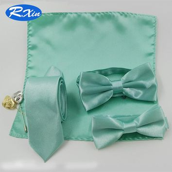 Red Xin Adult Children Kid Fashion Polyester Mint Green Bow tie Neckties Pocket square Bowties Set Ties for men Butterfly Cravat