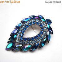 Blue Rhinestone Brooch  Juliana DeLizza & Elster