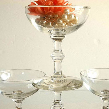 Vintage FOUR champagne glasses coupes saucers 1950's Mad Men Mid Century shallow bowl martini glasses Libbey Georgian pattern Bamboo stem
