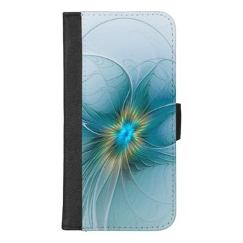 The little Beauty Modern Blue Gold Fractal Flower iPhone 8/7 Plus Wallet Case