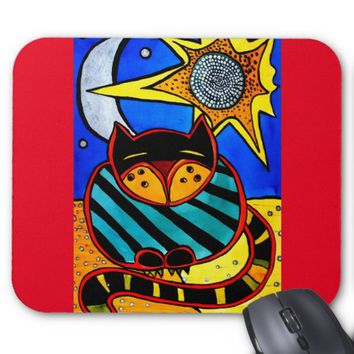 Sun And Moon Colorful Cat Design Mouse Pad