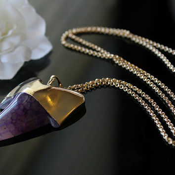 Purple Agate Shark Tooth Pendant, Dragon Vein Agate Stone, Huge Shark Tooth shape, Long Necklace, Long Pendant