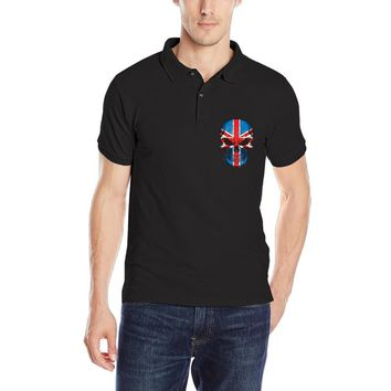New Arrivel British Flag Skull Men's Polo Shirt Casual CrossFit Breathable Solid Summe