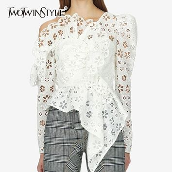 TWOTWINSTYLE Sexy Off Shoulder Asymmetrical Womens Shirt Blouse Long Sleeve Hollow Out White Lace Tops Female Elegant Summer