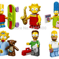The Simpsons Mini Fiugres DIY Plastic Toy Dolls Kids Construction Toys Bricks Building Blocks Compatible With Lego 6pcs/lot
