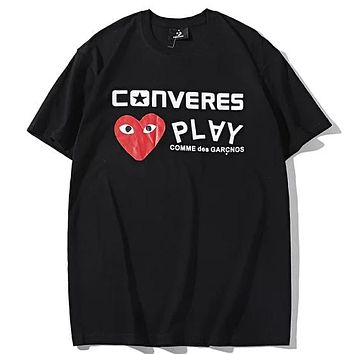 Converse x PLAY co-branded tide brand men's and women's knitted round neck half-sleeved T-shirt Black