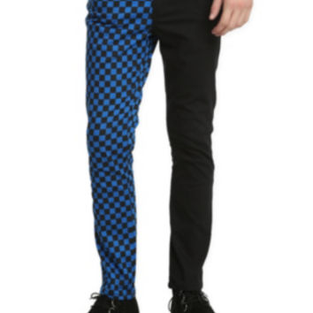 Royal Bones Split Leg Black And Blue Checkered Skinny Jeans