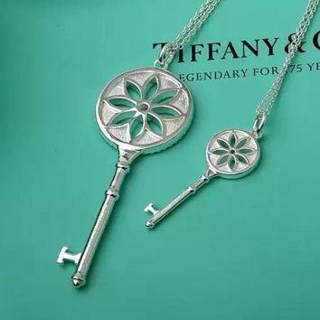 Tiffany & Co. Enamel Blue Daisy Key Necklace