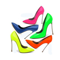 New Neon Pointed Toe High Heels W Thin Heel