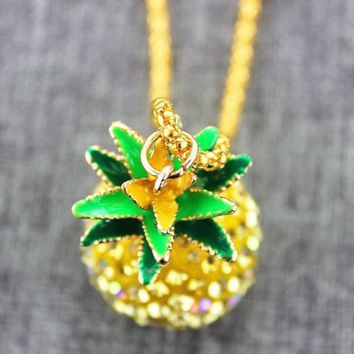 The New Cute Pineapple Pendant Long Necklace + Nice Gift Box