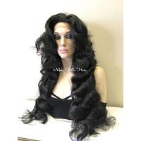 "Off Black Curls 30""  Human Hair Blend Deep Part Lace Front Wig -  Maria"