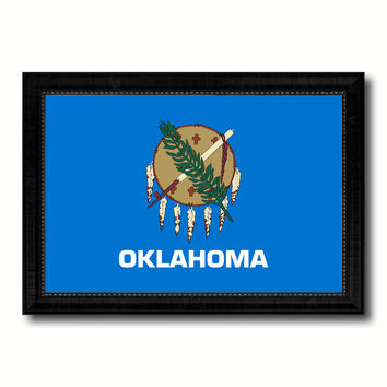 Oklahoma State Flag Canvas Print with Custom Black Picture Frame Home Decor Wall Art Decoration Gifts