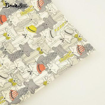 Booksew Home Textile Cotton Twill Fabric Foxes Design Soft Quilting Cloth Fat Quarter Tecido Tela For Bed Sheet Baby Beding Doll