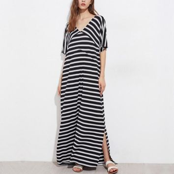 Vestidos 2018 Summer Women Sexy V Neck Short Sleeve Baggy Maxi Long Shirt Dress Casual Loose Side Split Striped Beach Dresses