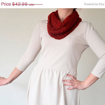 ON SALE Dark Red, Burgundy, Broomstick Lace Crochet, Infinity Scarf, For Every Season, Mother's Day Gift