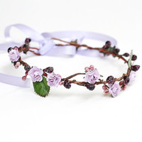 lavender lilac flower crown, bridal, woodland, rose floral hair wreath headband, halo, wedding, festival.