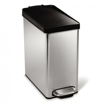 10 litre, profile step can, brushed stainless steel - plastic lid